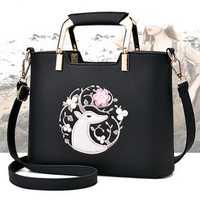 Women Casual Embroidery Tote Daily Shopping Shoulder Bag Handbag