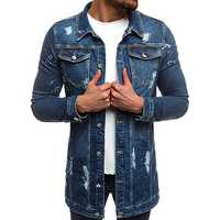 Mens Casual Multi Pockets Single Breasted Slim Denim Jacket