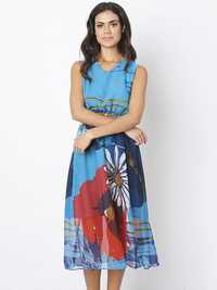Women Sleeveless High Waist Floral Printed Chiffon Maxi Dres