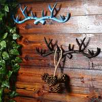 Vintage Cast Iron Deer Antlers Wall Hooks Strong Coat Towel Clothes Hat Key Hanger Holder For Gift Home Decoration
