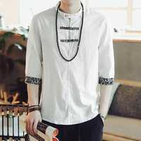 INCERUN Mens Chinese Style Vintage Half-open Collar Shirts