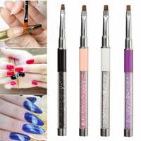 Rhinestone Flat Head Nail Pen Brush DIY Drawing Crystal Plastic Handle Nylon Hair Manicure Tool