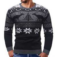 Men Casual Peaceful Deer Printed Long Sleeve Pullovers