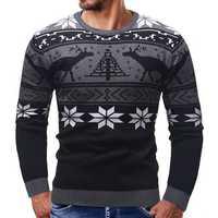 Men Casual Peaceful Deer Printed Long Sleeve Pullovers