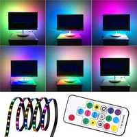1M 2M 3M WS2812 SMD5050 Black PCB Non-waterproof USB LED Strip Light+17 Keys Remote Control DC5V