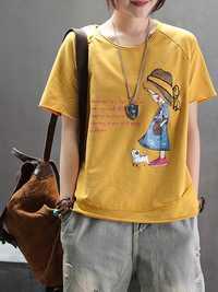 Women Casual Cartoon Short Sleeve Crew Neck T-Shirts