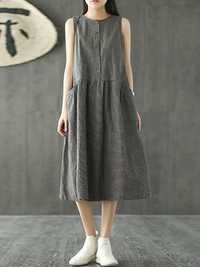 Women Sleeveless Plaid O-neck Pockets Dress