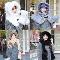 Women Ladies Faux Fur Fluffy Coral Velvet Hood Scarf Cap Gloves Warm Snood Pocket Hat