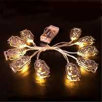 Battery Powered Silver Fanoos Lantern 10 LED String Holiday Light for Islamic Eid Ramadan