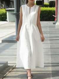 Women Solid Color Sleeveless V-Neck Back Zipper Dress