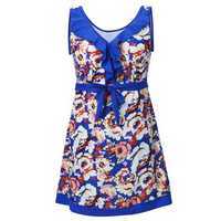 Plus Size Women Sleeveless Wireless Peony Bloom Printing V Neck Dress Swimsuit