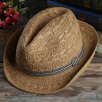 Mens Outdoor Handmade Woven Straw Jazz Hat