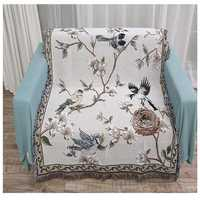 Flowers and Birds Cotton Blankets Knitted Multi-function Thread Blanket Beds Couch Floor Mat Tablecloth Decorative Sofa Blankets