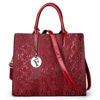 Women Snake Pattern Embossed Fashion Large Capacity Handbag