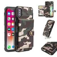 Camouflage Wallet Card Slots Protective Case For iPhone X PU Leather+TPU Cover