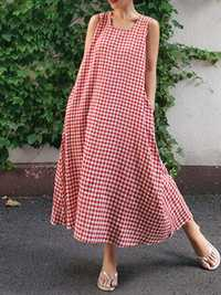 Sleeveless Plaid Side Pocket Loose Maxi Dress