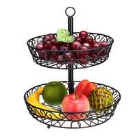 30cm Kitchen Restaurant Fruit Vegetable Basket 2 Tier Iron Rack Storage Organizer Stand Holder