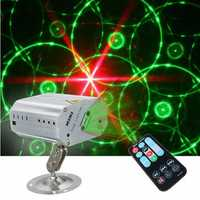 Mini R&G Auto/Sound LED Stage Light Laser Projector Xmas DJ Party Club Lamp + Remote AC110-240V