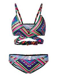 Women Geometric Pattern Bandage Push Up Padded Brazilian Bikini Sets Two-Piece Beachwear