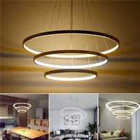 LED Ceiling Pendant Dimming Ring Light Holder Lamp Shade Fixture Home Living Room Decor AC220V