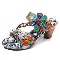 SOCOFY Bohemian Leather Heeled Sandals