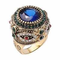 Bohemian Blue Rhinestone Finger Ring Ethnic Gold Plated Ring