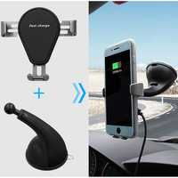 Universal 10W 7.5W 5W Qi Wireless Fast Charge Powerful Suction Car Mount Holder for Mobile Phone