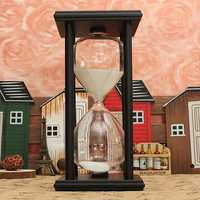 60 Minutes Wooden Frame Sand Glass Hourglass Sand Timer Home Decor Gift
