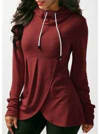 Women Pure Color Hooded Asymmetric Hoodies