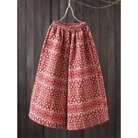 XL Vintage Printed Elastic Waist Wide Leg Trousers Pants