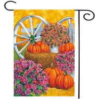 28'' x 40'' Pumpkin Wagon Wheel Fall Autumn Decorative House Flag Large Banner Decorations