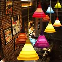 Folding Lampshade Colorful Silicone E27 Lamp Holder Pendant Lights DIY Ceiling Light Home Decor