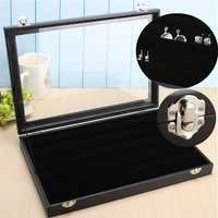 Clear Glass Mirror Lid Earrings Jewelry Display Storage Holder Box Tray Case Organization Stand