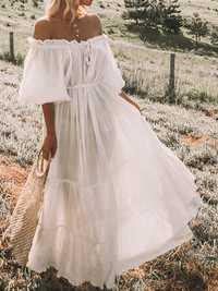 Women Casual Off Shoulder Solid Color Maxi Dress