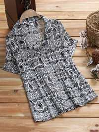Women Plus Size Floral Print Short Sleeves Shirts