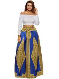 Vintage Women Floral Printed Pleated High Waist Long Skirts