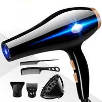 6PCS/Sets 2200W Hair Blow Dryer Blue Light Constant Temperat
