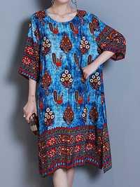 Women Casual Print Half Sleeve Dresses O-Neck Midi Dress