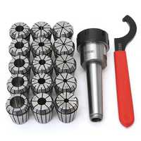 MT3 ER32 M12 Collet Chuck with 15Pcs ER32 Spring Collets Set for Lathe Tool