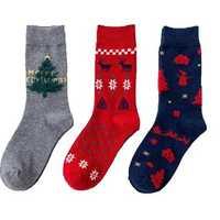 3 Pairs Of Women's Socks Elk Snowman Pattern Mid Stocking Warm Breathable Socks