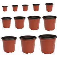 100Pcs Plastic Garden Nursery Pot Flower Terracotta Seedlings Planter Containers Set