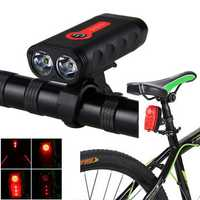 XANES DL13 1800LM 2L2 4400mAh Rechargeable Battery Bike Light LTL01 2 Lasers Bike Taillight Set