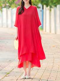Chinese Style Solid Dress
