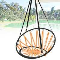 Handmade Knitted Round Hammock Outdoor Indoor Dormitory Bedroom Children Swing Bed Decor