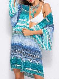 Plus Size Printed Sun Protection Blouse Beach Cover-Ups