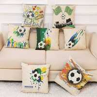 Honana The 2018 Russia World Cup Cotton Linen Cushion Pillow Case Soccer Pillow Covers for Home Bedroom Sofa Holiday Decor