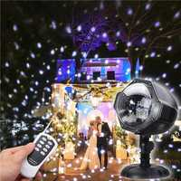 8W Snow Falling Moving Remote Control LED Projector Stage Light Christmas Outddor Garden Party Lamp