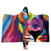 Hooded Blankets Lion Colorful Printed Warm Wearable Plush Mat Thick Nap Soft Blanke
