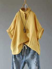 Solid Color Turn-Down Collar Cotton Vintage Blouse