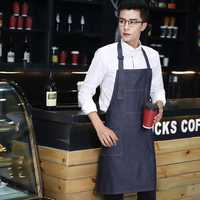KCASA KC-APR01 Fashion Denim Aprons Durable String Adjustable Machine Washable Easy Care Pinafore
